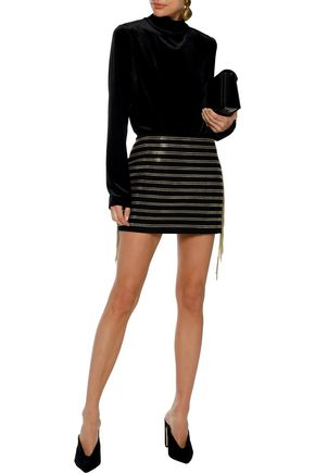 5f9e54dc BALMAIN Chain-trimmed cotton-blend twill mini skirt