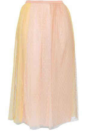 REDValentino Two-tone point d'esprit midi skirt