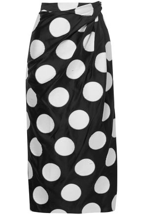 CAROLINA HERRERA Gathered polka-dot satin-jacquard midi skirt