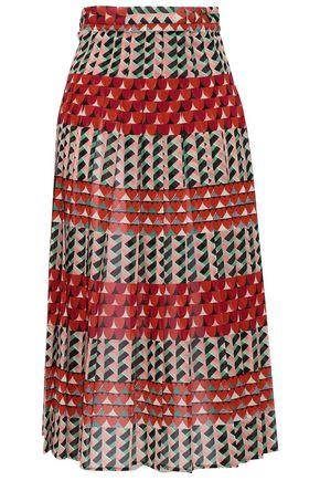 REDValentino Printed silk-blend crepe de chine midi skirt
