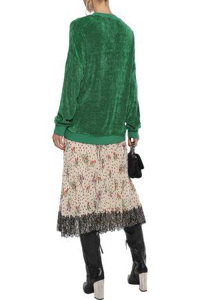 REDValentino Chantilly lace-trimmed floral-print plissé-gauze midi skirt