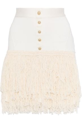 BALMAIN Button-embellished fringed stretch-knit mini skirt