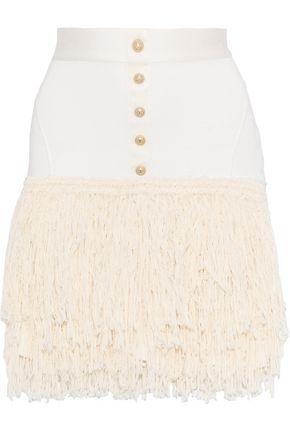 BALMAIN Button-embellished fringed stretch-knit mini skirt