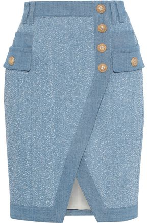 BALMAIN Button-detailed bouclé denim mini skirt