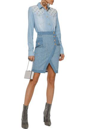 BALMAIN Button-detailed bouclé denim mini skirt