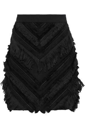 BALMAIN Fringed stretch-cotton mini skirt