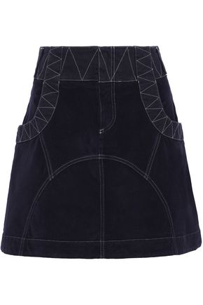 SEE BY CHLOÉ Twill-trimmed stretch-cotton velvet mini skirt