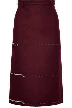 VETEMENTS Milanesa embroidered wool-blend twill pencil skirt