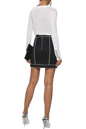 BALMAIN Button-embellished stretch-cotton mini skirt