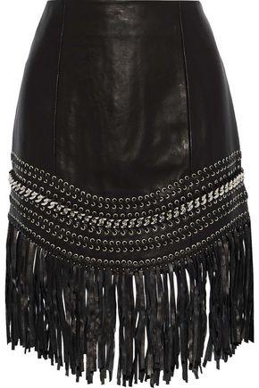 BALMAIN Fringed embellished leather mini skirt