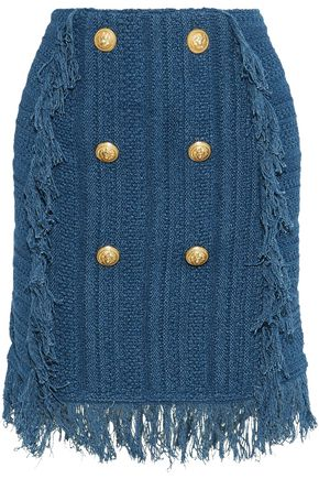 BALMAIN Button-embellished fringed crocheted cotton mini skirt