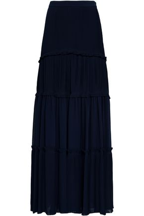 TORY BURCH Tiered pleated crepe maxi skirt