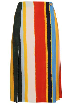 TORY BURCH Striped twill midi wrap skirt