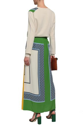 TORY BURCH Printed silk maxi wrap skirt