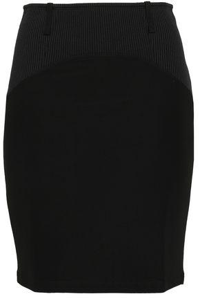 PACO RABANNE Satin-trimmed stretch-jersey mini skirt