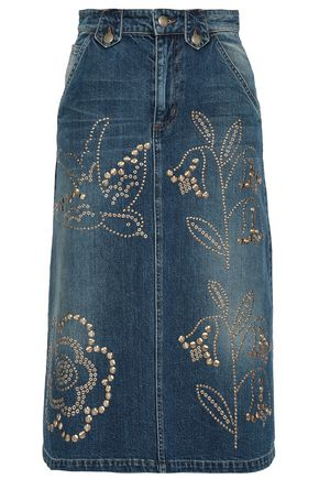 REDValentino Studded denim skirt