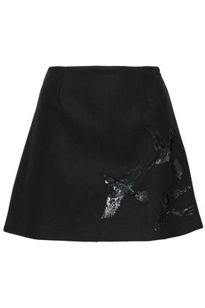 REDValentino Embellished wool-blend felt mini skirt