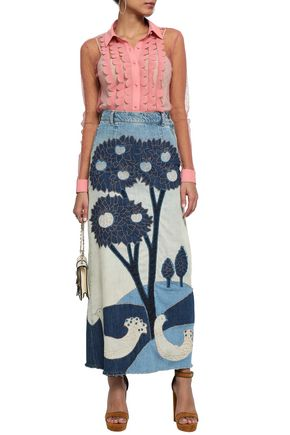 REDValentino Patchwork denim maxi skirt