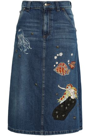 REDValentino Embellished denim midi skirt
