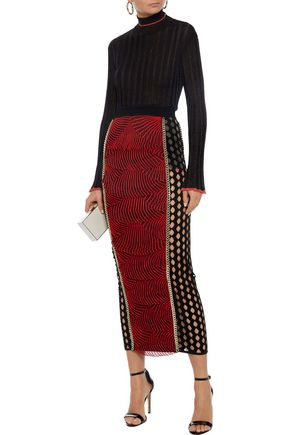 Balmain Chain Trimmed Layered Embroidered Tulle Midi Skirt