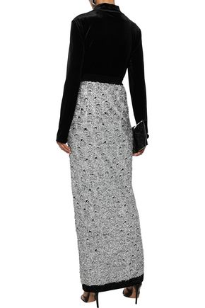 BALMAIN Tinsel and metallic stretch-knit maxi skirt