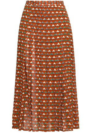 REDValentino Printed silk-blend midi skirt