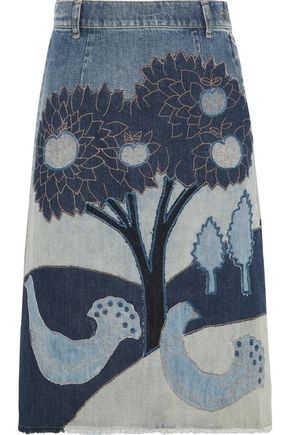 REDValentino Sequin-embellished embroirdered patchwork denim skirt