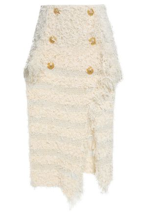 BALMAIN Asymmetric knitted midi skirt