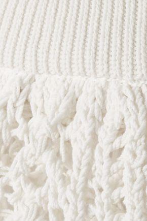 BALMAIN Scalloped cotton-blend macramé midi skirt