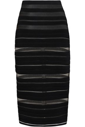 BALMAIN Striped knitted midi skirt