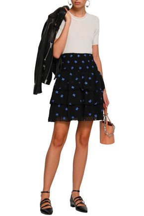 MAJE Tiered embroidered knitted mini skirt
