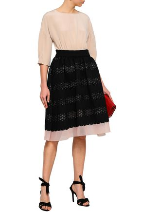 MAJE Jarod flared layered lace and mesh skirt