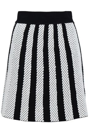 MAJE Jasper striped jacquard-knit mini skirt