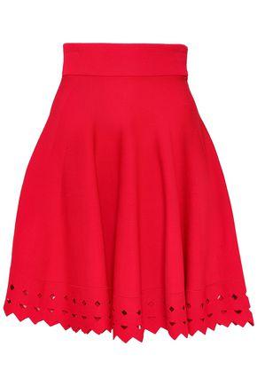 MAJE Cutout ribbed-knit mini skirt