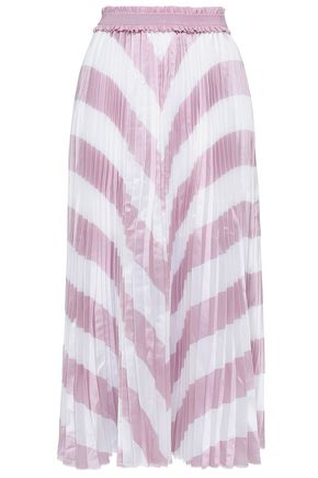 MAJE Pleated striped iridescent woven midi skirt