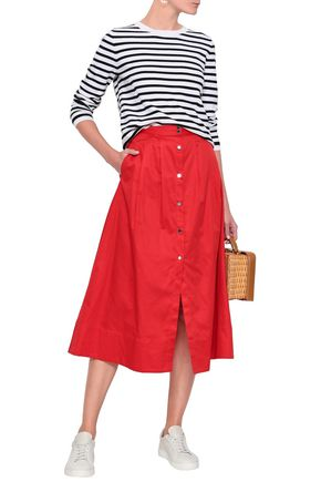 MAJE Cotton-poplin midi skirt