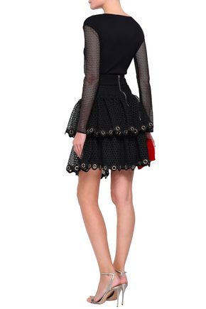 MAJE Embellished tiered guipure lace mini skirt