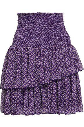 MAJE Tiered shirred floral-print georgette mini skirt