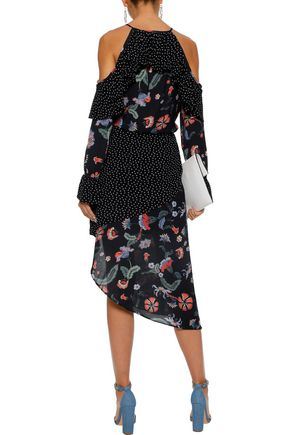 LOVE SAM Asymmetric paneled printed crepe de chine skirt