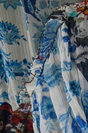 LOVE SAM Asymmetric patchwork-effect floral-print georgette midi skirt