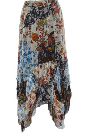 LOVE SAM Asymmetric patchwork-effect floral-print georgette midi skirt