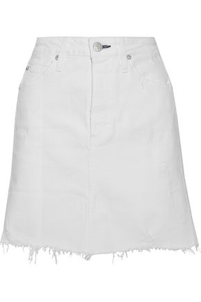 AMO Gemma distressed denim mini skirt