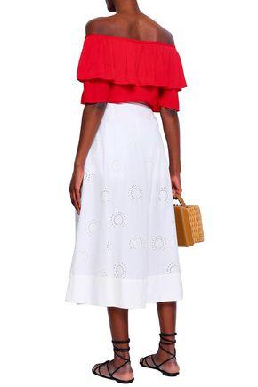 MAJE Laser-cut cotton-poplin midi skirt