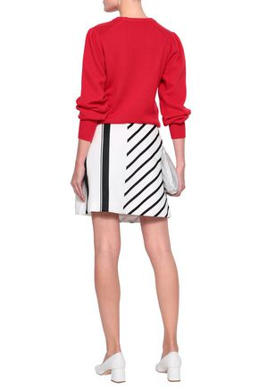 MAJE Button-embellished striped woven mini skirt