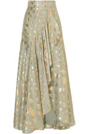 TEMPERLEY LONDON Wrap-effect silk-blend fil coupé maxi skirt
