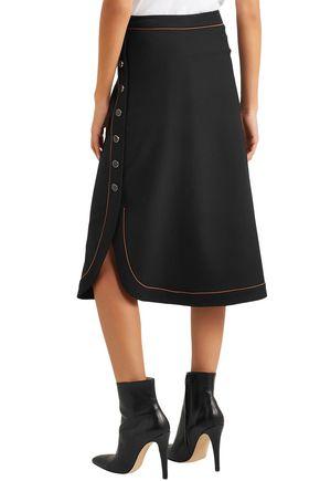 VANESSA SEWARD Wrap-effect wool-blend crepe midi skirt