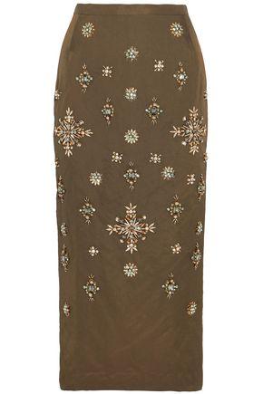 BIYAN Niez embellished taffeta midi skirt