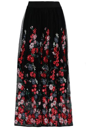 MAJE Embroidered tulle midi skirt
