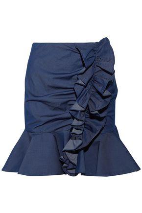 CAROLINE CONSTAS Ruched cotton-chambray mini skirt