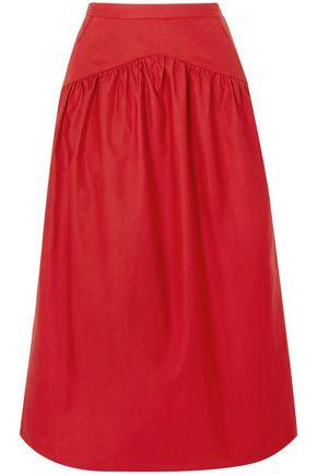 ATLANTIQUE ASCOLI Gathered cotton and linen-blend midi skirt